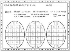 Pi Day Coloring Math Compare fractions and decimals with