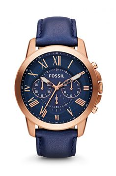 online shopping for Fossil Men's Grant Chronograph Leather Watch - Rose Gold-Tone Blue from top store. See new offer for Fossil Men's Grant Chronograph Leather Watch - Rose Gold-Tone Blue Fossil Watches For Men, Cool Watches, Men's Watches, Casual Watches, Montres Hugo Boss, Brown Leather Strap Watch, Black Leather, Skeleton Watches, Luxury Watches