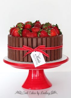 Kit Kat Cake with Strawberries!