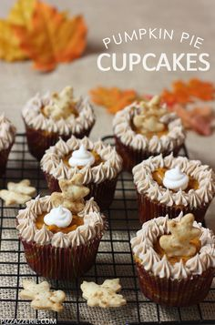 25 pumpkin desserts recipes Decadent and moist pumpkin pie cupcakes are a fall favorite around here. Enjoy these cupcakes with a layer of pumpkin pie filling on top with little cookie cutout leafs and pumpkin frosting. Mini Desserts, Fall Desserts, Just Desserts, Delicious Desserts, Oreo Dessert, Pumpkin Dessert, Pumpkin Pumpkin, Pumpkin Recipes, Fall Recipes