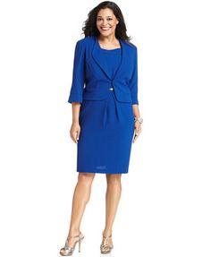 Le Bos Plus Size Dress and Jacket, Sleeveless Ruffled | Le Bos ...