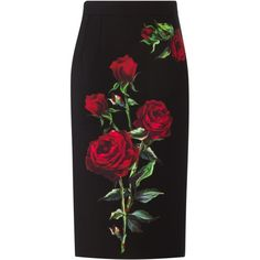 Dolce & Gabbana rose print pencil skirt (€1.605) ❤ liked on Polyvore featuring skirts, bottoms, saias, black, mid length pencil skirt, high-waisted skirts, knee length pencil skirt, pencil skirt and high rise skirts