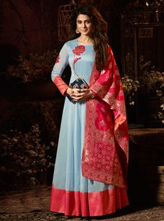 The variety of bollywood salwar kameez online. Shop Jennifer Winget embroidered, resham and zari work art silk and chanderi floor length anarkali suit for festival and party. Designer Salwar Kameez, Ladies Salwar Kameez, Silk Anarkali Suits, Patiala Salwar, Long Anarkali, Simple Anarkali, Silk Dupatta, Sharara, Kurta Designs