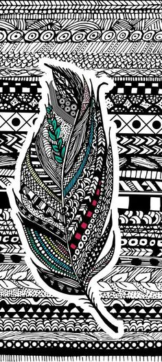 Zentangle is my favorite type of art! Hipster Vintage, Vintage Diy, Doodles Zentangles, Zentangle Patterns, Aztec Art, Feather Art, Feather Design, Art Plastique, Doodle Art