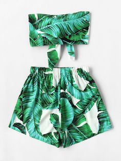 Leaf Print Random Bow Tie Crop Bandeau Top With Shorts -SheIn(Sheinside)