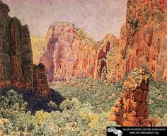 Temple of Sinawava - Zion National park  Gunnar Widforss - 1920