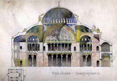 Hagia Sophia History - the Church of Holy Wisdom Architecture Jobs, Colour Architecture, Architecture Drawings, Historical Architecture, Amazing Architecture, Hagia Sophia Istanbul, Byzantine Art, Renaissance Men, Ottoman Empire