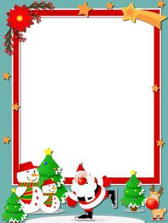 Merry Christmas Frame, Christmas Picture Frames, Christmas Writing, Christmas Crafts For Kids, Christmas Pictures, Christmas Diy, Christmas Decorations, Free Christmas Borders, Christmas Cartoons
