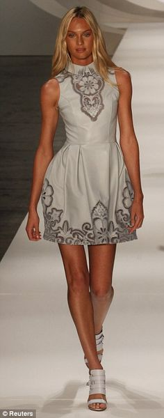 Candice Swanepoel on the catwalk at Sao Paulo Fashion Week. The former model walked in Colcci's summer collection show.