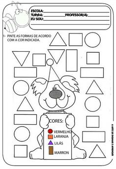 Atividade Pronta Formas Geom Atilde Copy Tricas Math School And Worksheets Preschool Kindergarten, Kindergarten Worksheets, English Activities, Preschool Activities, Shape Games, Visual Learning, Math For Kids, Shapes, Professor