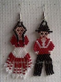 beaded Choctaw traditional dress (woman & man) earrings:  designed & beaded by Angielina Grass, 2007©  brick stitch & fringe stitch: size 11 seed beads