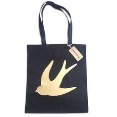 'Swallow' Bling Bag – metallic gold foil screenprint tote