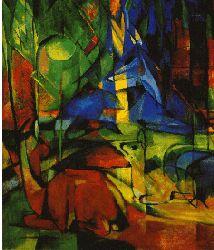 Franz Marc. Rehe im Walde II (© Kunsthalle Karlsruhe) wurde im Frühjahr 1914 gemalt. Es gehört - mit den Vögeln, Land Tirol und den vier abstrakten Bildern Marcs - zu letzten Ölbildern, die Marc im Atelier malten konnte, bevor er im August in Feld zog.