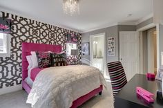 Grey, white, pink themed bedroom
