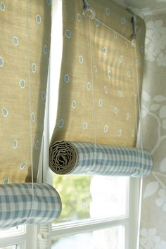 Swedish Blinds in Simple Spot Stone and Cloud with Plain Check Smoke