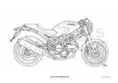 DUCATI MONSTER 695d 2007 Original Handmade Drawing by drawspots, $42.00