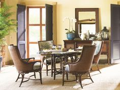 Tommy Bahama Home Landara Royal Palm Customizable Upholstered Arm Chair - Hudson's Furniture - Dining Arm Chair Tampa, St Petersburg, Orlando, Ormond Beach