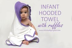STITCHED by Crystal: Infant Hooded Towel - Girly Style! not tried it but would be a fab way to get the hang of ruffles and bias binding xx Sewing Patterns Free, Free Sewing, Sewing Tutorials, Free Pattern, Kids Patterns, Sewing Ideas, Sewing For Kids, Baby Sewing, Sew Baby