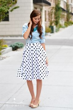 Stripe + Polka Dot A-Line Skirts | So cute for ALL seasons! Day or Night. | Grab this boutique deal on Jane.com