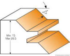 CMT Verstekfrees 45° met rechte hoek schacht 8 mm