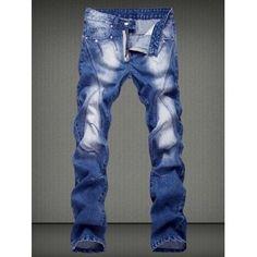 Slimming Straight Legs Denim Pants For Men