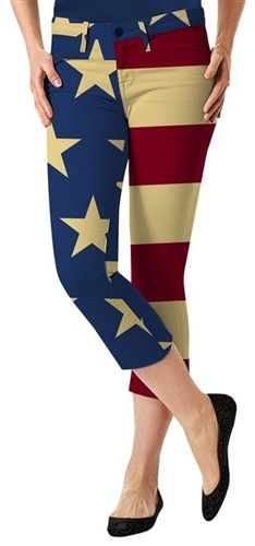 Womens Golfing Capris by Loudmouth Golf - Old Glory.  Buy it @ ReadyGolf.com