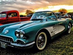 A 1960 Corvette Convertible shines in the sun during