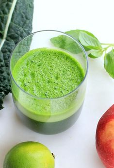 Re-Boot Green Juice to Fire Up Your Day - A delicious combo of apple, kale, basil, and lime.