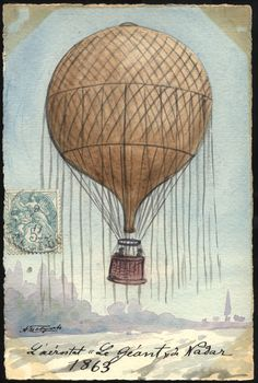 The postage stamp gives an extra nostalgic dimension to the balloon. Vintage Ephemera, Vintage Postcards, Vintage Images, Printed Balloons, Giant Balloons, Ballon Illustration, Decoupage, Envelope Art, Vintage Drawing