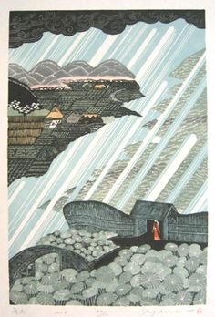 Japan) Kaji by Ray Morimura. woodblock print. | Japan, Ray ...