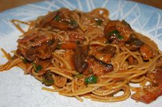 Spaghetti with Bacon, Mushrooms, & Herbs