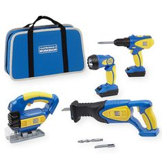 You'll be prepared for any construction job that comes your way with Just Like Home Workshop Deluxe Power Tool Set. This tool set contains 4 different power tools all of which are powered up by your two interchangeable battery packs. These tools have light, sound and motion so they look and sound just like Dad's tool at home. At the end of the day, simply pack up all your tools in the included tool bag for easy storage and transportation.<br><br>The Just Like Home Workshop...