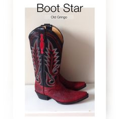 """$816 Boot Star By Old Gringo Sz 7 Simply amazing.  I just HAD to have these.....and all they do is sit in my closet.  Like new, size 7 leather boots from Boot Star by Old Gringo.  If you're familiar with the brand.....then you already know why I had to have them.  Womens 7.  Shaft is 12"""".  2"""" block heel.  Calf measured flat is 6.5"""".  No flaws or discoloration or any sign of wear AT ALL.  Only reasonable  offers will be considered. Old Gringo Shoes"""