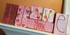 I LOVE YOU Valentine's Day Wooden Block Decor