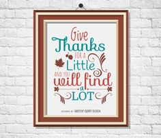 Thanksgiving poster framed on a wall. Design features a quote that says