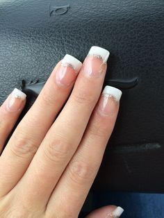 Prom nails, acrylic nails French tip with glitter