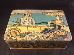 Ancienne boîte en fer publicité Biscuiterie Nantaise B.N marché signée 1920