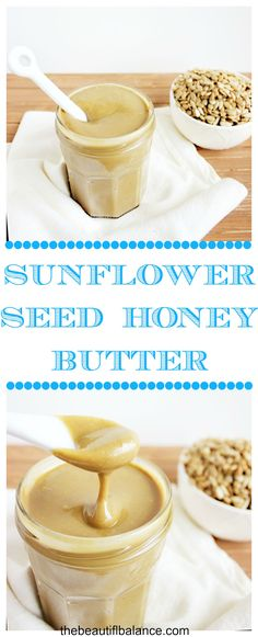 Roasted sunflower seeds are blended with sea salt and honey to create a creamy, salty, subtly sweet, seed butter that comes together in under 10 minutes! via The Beautiful Balance