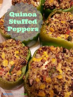 Today, I am sharing these awesome Quinoa Stuffed Peppers.  I LOVE quinoa and love to try recipes with it as an ingredient.  It's so good!       I have never been a huge fan of regular stuffed peppe...