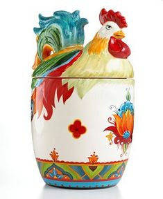 """Pasha Rooster Cookie Jar"" [Big bold florals, exuberant hues a whimsical rooster shape make the Pasha cookie jar a country-fun addition to kitchen counters casual decor.]~[from Tabletops Unlimited.]~[This item is a part of Espana Serveware - Pasha Rooster Rooster Kitchen Decor, Rooster Decor, Casual Decor, Chicken Art, Chickens And Roosters, Vintage Cookies, Hens And Chicks, Galo, Biscuit Cookies"