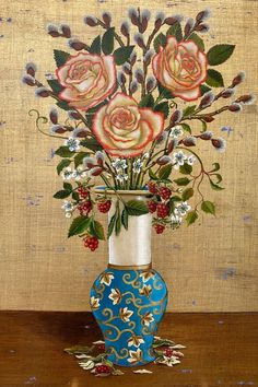 Mia Pratt creates beautiful flower art in oils & gold leaf. This bouquet of roses & wildflowers is painted on 8x12 wood panel. Visit MiaPrattFineArt.com to see Mia's other works🎨 Rose Bouquet, Wood Paneling, Gold Leaf, Flower Art, Wild Flowers, Beautiful Flowers, Vase, Fine Art, Art Oil
