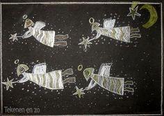 Tekenen en zo: engeltjes: wit/goud/zilver potlood op zwart papier.