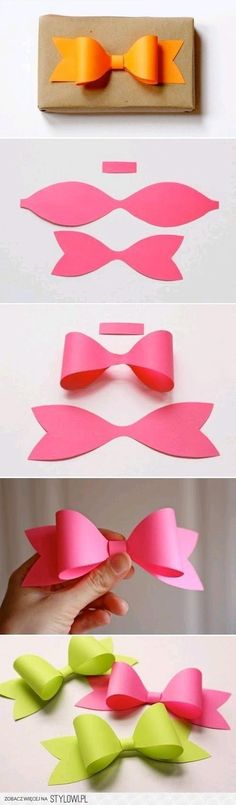 DIY paper bows for gift box