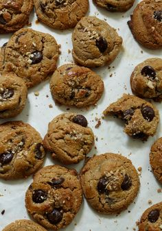 pastry shop almond chocolate chip cookies; made with homemade ground almonds, dark brown and raw sugar, a lot of butter, and only egg yolks; super rich and chewy