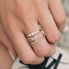 14kt gold and three floating rose cut diamond cluster double band ring – Luna Skye by Samantha Conn
