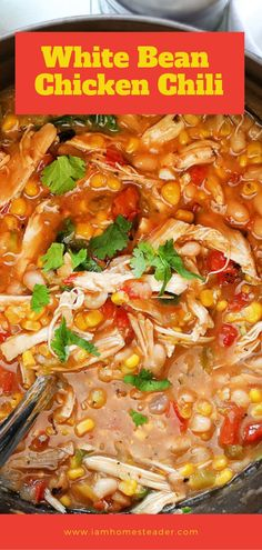 Want something healthy, yet your kids would love? This White Bean Chicken Chili makes a delicious meal full of spicy chili flavor, chicken, and white beans. This recipe is a simple and delicious take on chili. Save this pin! Chili Recipes, Soup Recipes, Cooking Recipes, Healthy Recipes, Healthy Food, Healthy Meals, Chicken Recipes, Easy Meals, Chicken