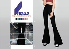 4 Walls High-Waisted Flared Pants • New mesh / EA mesh edit • Category: bottom…