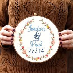 New to ThistleThreadDesign on Etsy: Wedding Hoop Art Custom Embroidery Personalized Needlepoint Custom Wall Art Gift Under 50 Cotton Anniversary Couple Gift Wedding Gift (45.00 USD)