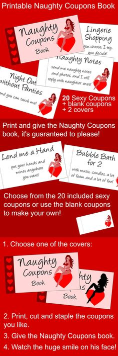 Very Sexy Naughty Coupons printable booklet, Valentine's Day gift for him. Sexy gift ideas.