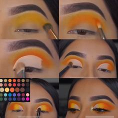 I hope you enjoy this colorful makeup tutorial Let me know what other videos you would like to see ❤️ This look was inspired by on Insta. Grunge Eye Makeup, Soft Eye Makeup, Yellow Eye Makeup, Fancy Makeup, Creative Eye Makeup, Eye Makeup Steps, Makeup Eye Looks, Colorful Eye Makeup, Eye Makeup Art